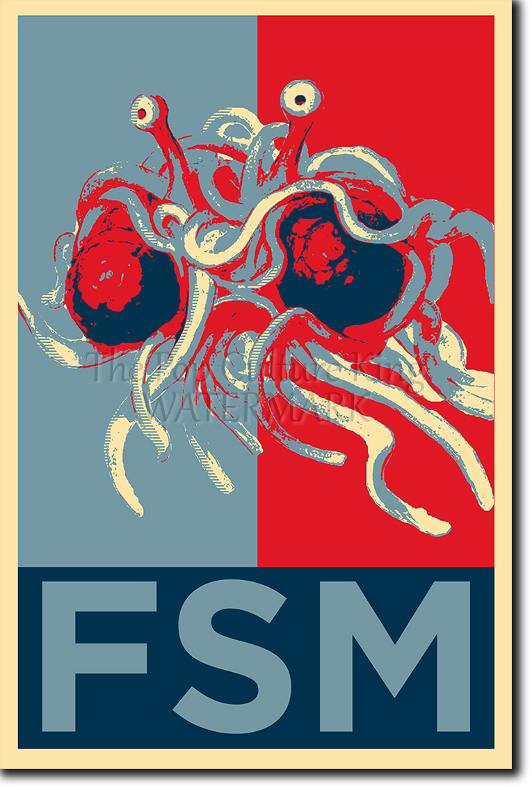 FLYING SPAGHETTI MONSTER PHOTO PRINT POSTER GIFT (OBAMA ...