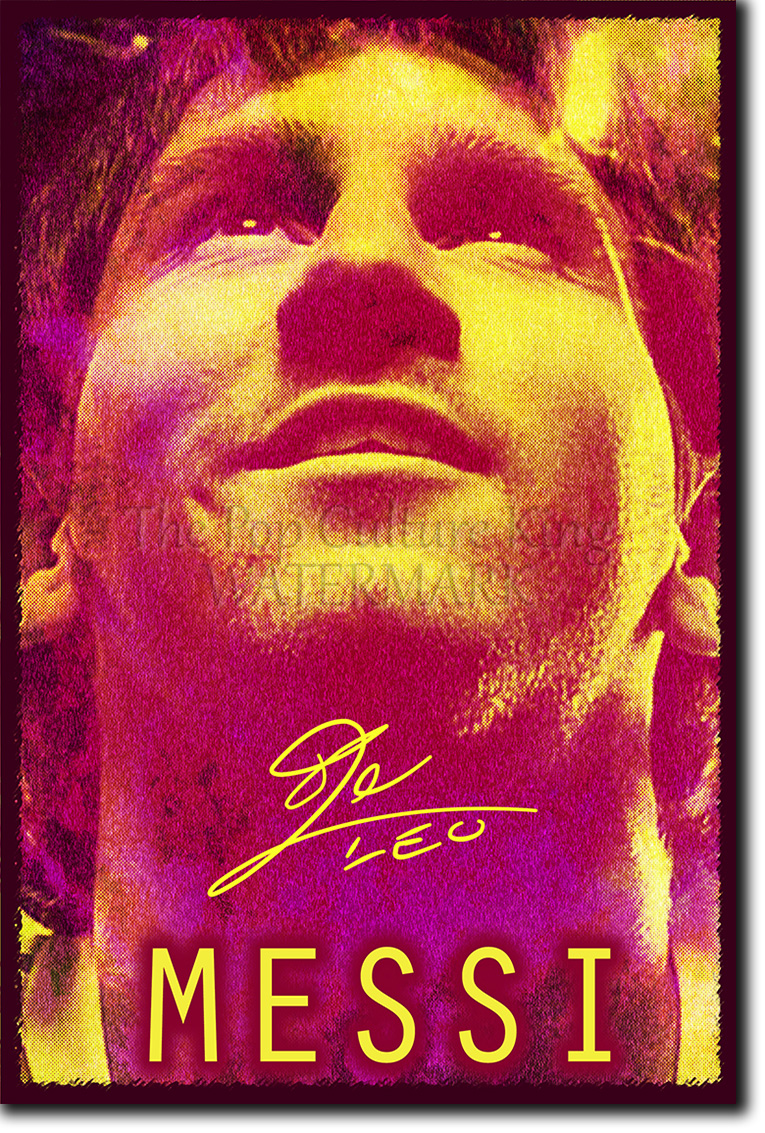 LIONEL MESSI SIGNED PHOTO PRINT   BARCELONA FOOTBALL AUTOGRAPH POSTER