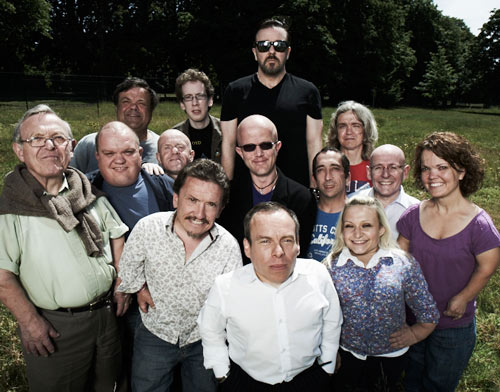 Ricky Gervais Surrounded by Dwarves