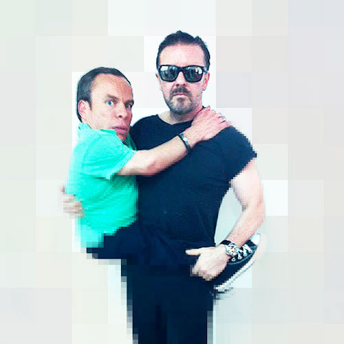 Ricky Gervais Carrying Warwick Davis