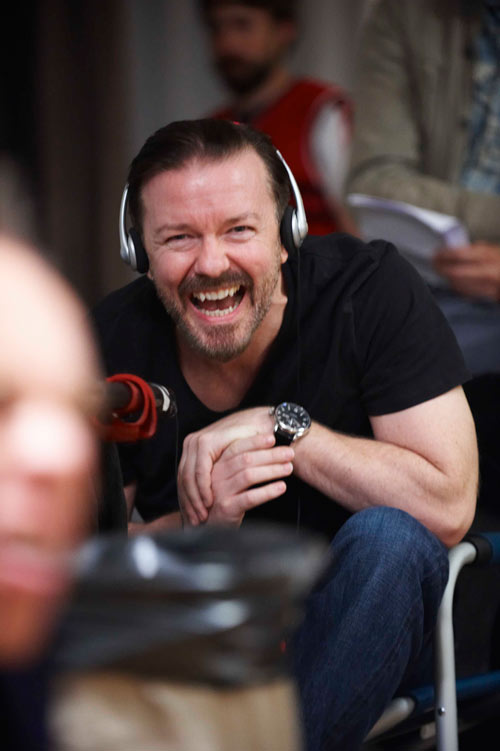 Ricky Laughing on the set of life's too short