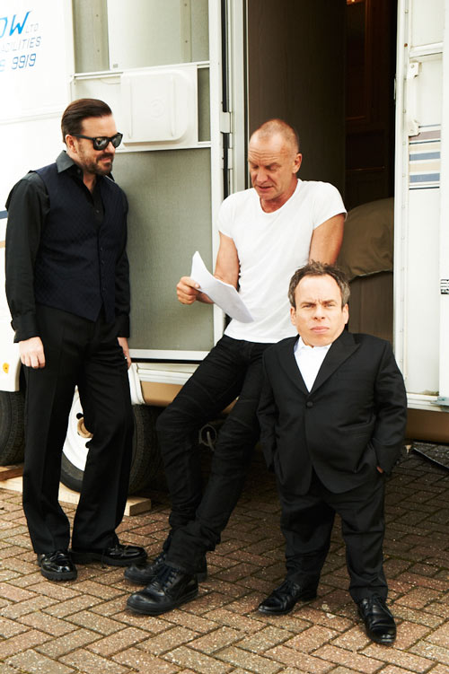 Sting with Ricky Gervais and Warwick Davis on set of Life's Too Short