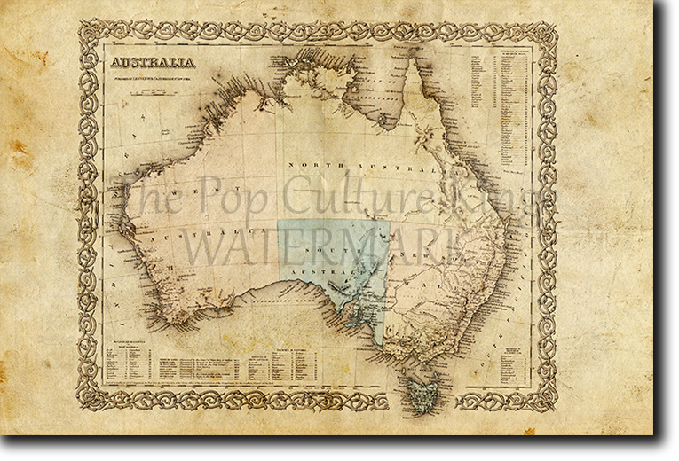 Australia Map 1850.Map Of Australia From 1850 Historic Vintage Photo Print Poster Ebay