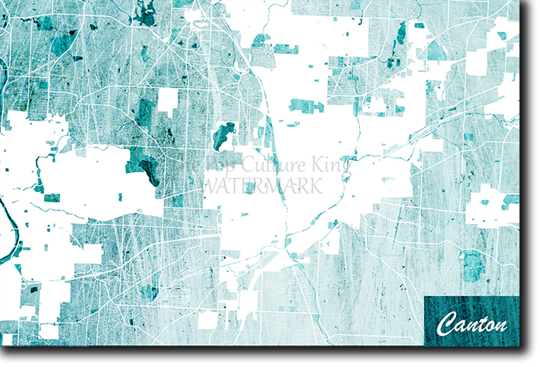 Canton, Ohio, USA Map Poster Art Print - Blue Stroke - Photo Gift | on
