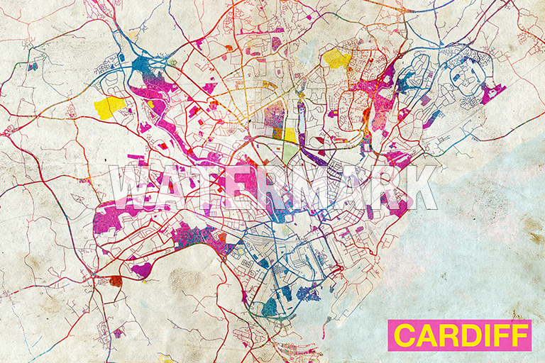 MAP OF CARDIFF WALES UK ART PRINT GRAPHIC POSTER OLD STREET