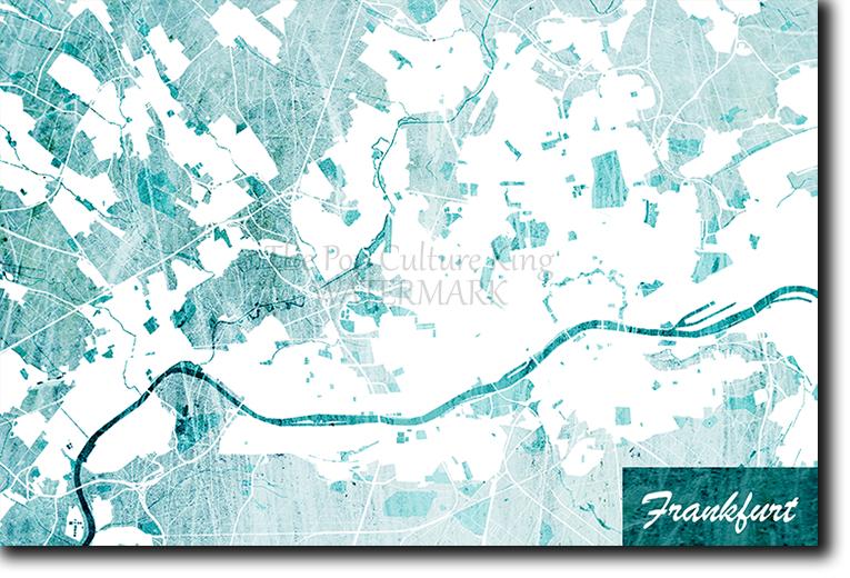 Frankfurt Germany Map Poster Art Print Blue Stroke Photo Gift