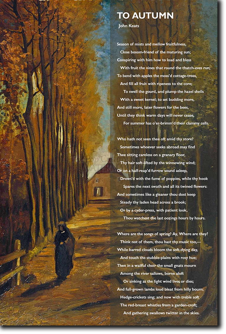 John Keats Poem Art Print Poster Photo Gift Seasons To Autumn