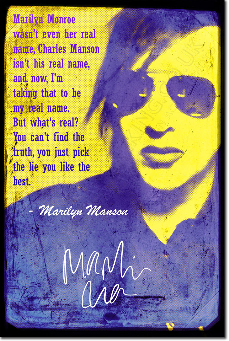 Details about MARILYN MANSON ART PRINT PHOTO POSTER GIFT QUOTE