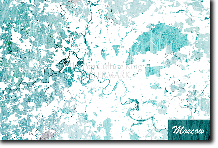 Moscow, Russia Map Poster Art Print - Blue Stroke - Photo Gift | eBay