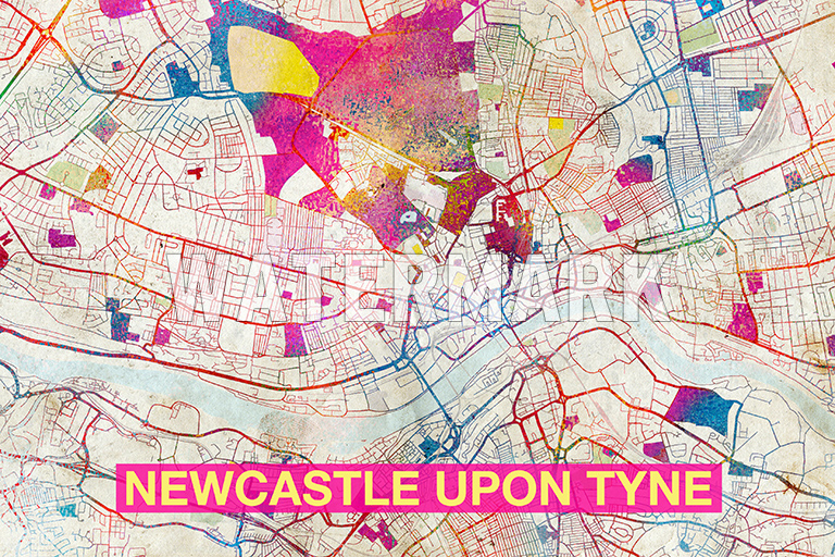 MAP OF NEWCASTLE UPON TYNE ENGLAND ART PRINT GRAPHIC POSTER OLD
