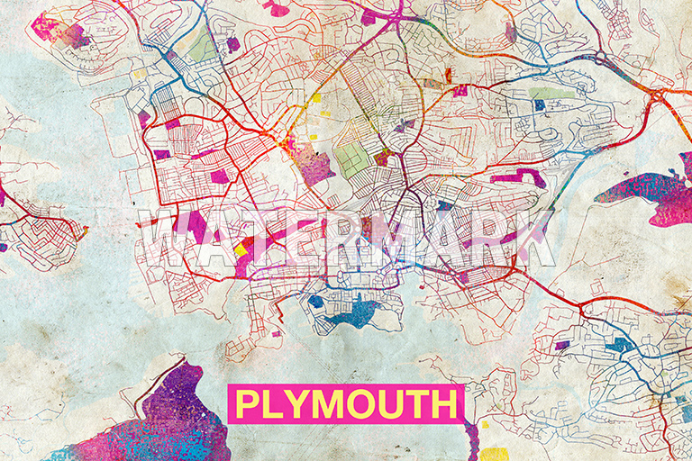 Map Of Plymouth England Art Print Graphic Poster Old Street Photo