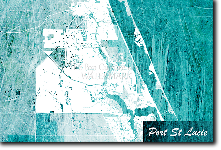 Map Of Port St Lucie Florida.Port St Lucie Florida Usa Map Poster Art Print Blue Stroke