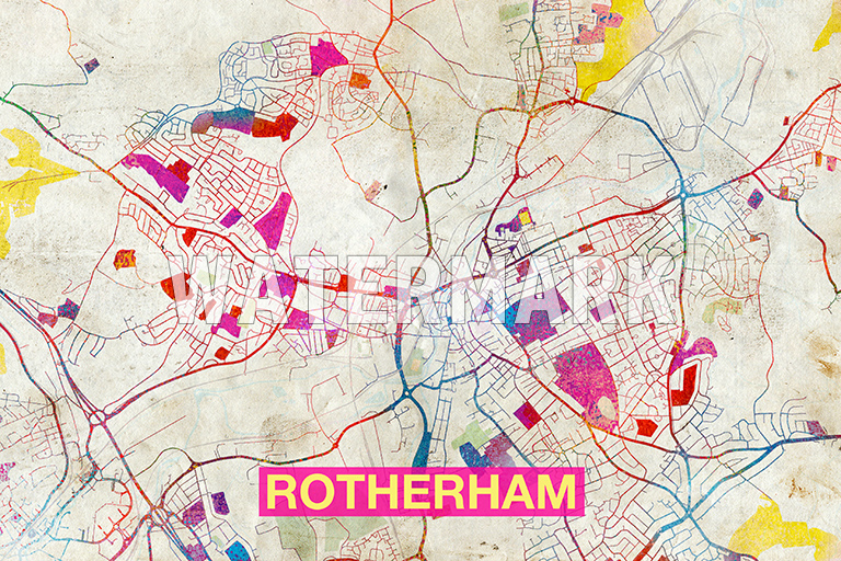MAP OF ROTHERHAM ENGLAND ART PRINT GRAPHIC POSTER OLD STREET