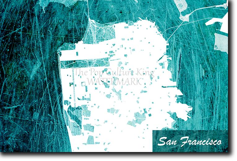 San Francisco, California, USA Map Poster Art Print - Blue Stroke ...