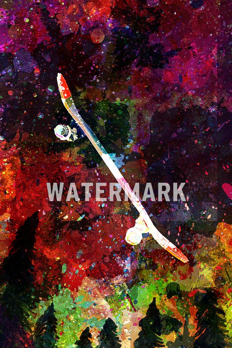 "SKATEBOARD ART PRINT /""COLOURBURST/"" PHOTO POSTER GIFT QUOTE"