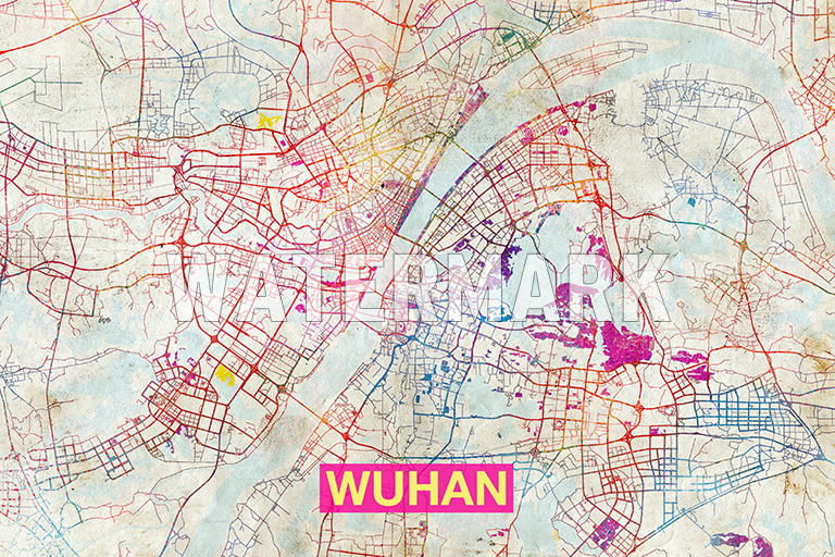 Map of wuhan china art print graphic poster old street photo so any watermark in the below image will not appear on your actual print gumiabroncs Images
